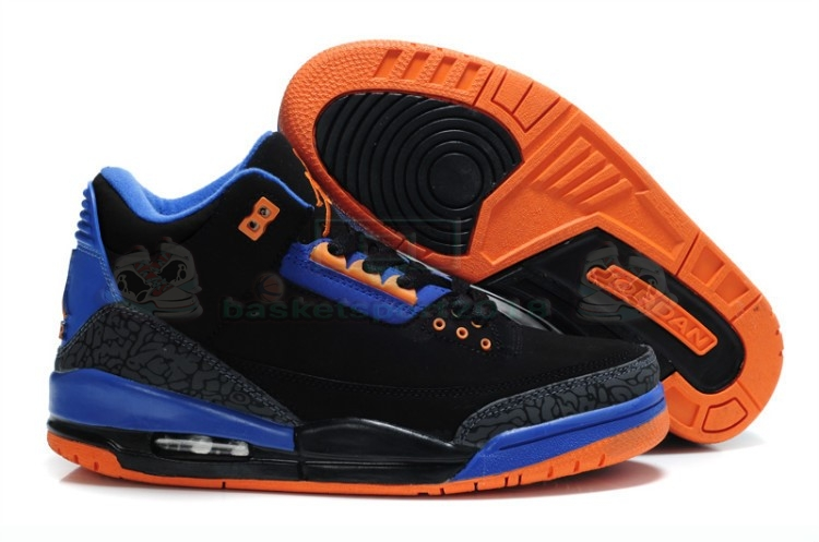 Acheter Maintenant Pas Cher Homme - Air Jordan 3 Black Orange Blue