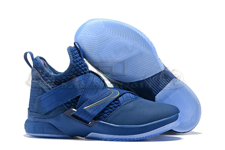 Acheter Maintenant Pas Cher Homme - Nike Lebron Soldier Xii 12 Marine Or