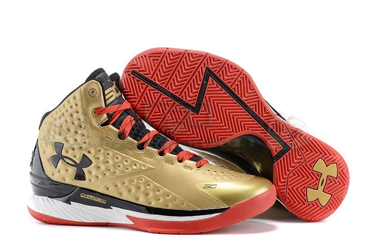 "Acheter Maintenant Pas Cher Homme - Under Armour Curry 1 ""Nations Finest"" Or Rouge Noir"