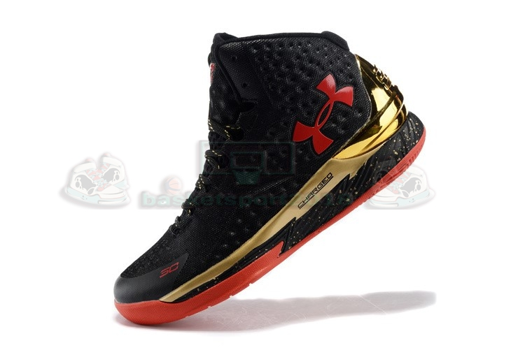 Acheter Maintenant Pas Cher Homme - Under Armour Curry 1 Noir Or Rouge