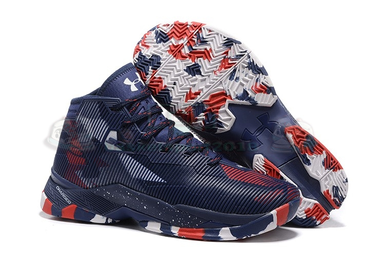 "Acheter Maintenant Pas Cher Homme - Under Armour Curry 2.5 ""Usa"" Marine Rouge Blanc"