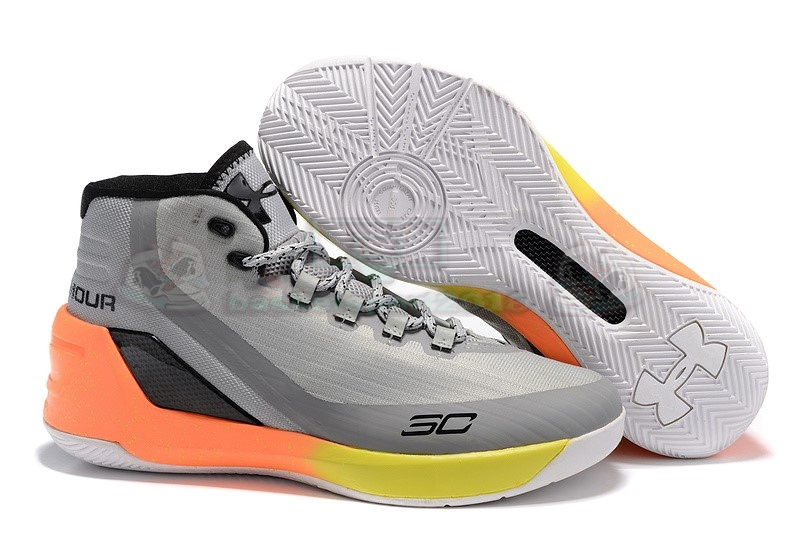 Acheter Maintenant Pas Cher Homme - Under Armour Curry 3 Gris Orange Jaune