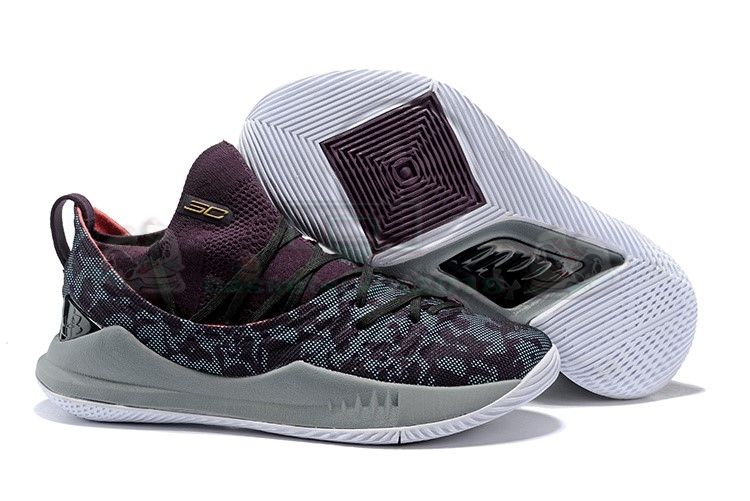 Acheter Maintenant Pas Cher Homme - Under Armour Curry 5 Low Gris Pourpre