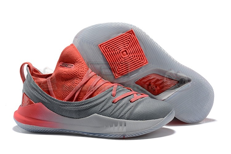 Acheter Maintenant Pas Cher Homme - Under Armour Curry 5 Low Gris Rouge